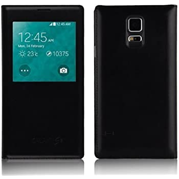 Galaxy S5 Case - Black Leather Smart View Flip Cover for Samsung Galaxy S5, Screen Protector Included