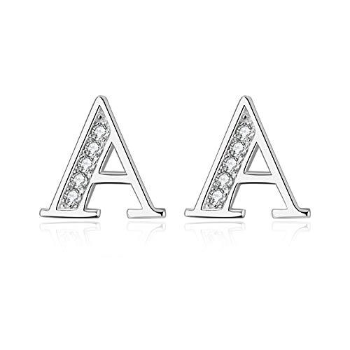 - YFN S925 Sterling Silver Cubic Zirconia 26 Initial Letters Alphabet A Stud Earrings (Initial A Earrings)