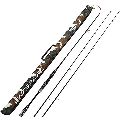 Entsport 2-Piece 7-Feet Spinning Rod Graphite Portable Spinning Fishing Rod Medium Heavy Spin Rod with an Alternative Top Piece (Gold Rod with Camo Bag, 7-Feet)