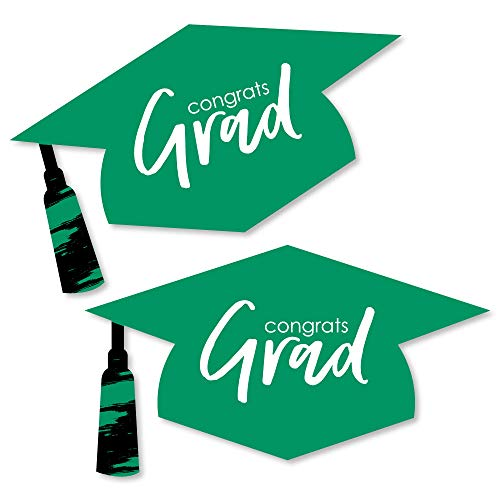 Green Grad - Best is Yet to Come - Graduation Hat Decorations DIY Green Graduation Large Party Essentials - 20 Count ()
