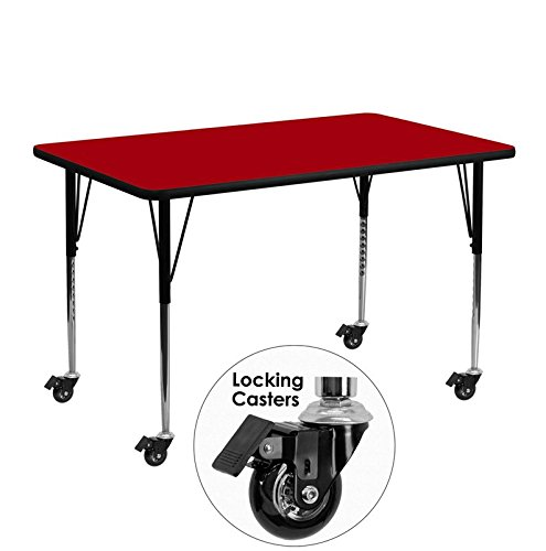Flash Furniture Mobile 24''W x 48''L Rectangular Red Thermal Laminate Activity Table - Standard Height Adjustable Legs (Laminate Adjustable Leg Table Desk)