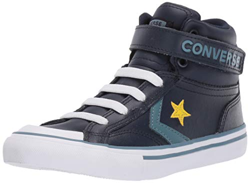 Converse Boys Kids' Pro Blaze Strap Leather High Top Sneaker, Obsidian/Celestial Teal 13 M US Little ()