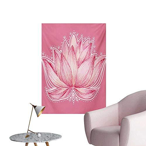 (Anzhutwelve Floral Photographic Wallpaper Lotus Flower Meditation Yoga Plant Asian Zen Petal Spiritual Icon Chakra PrintBaby Pink Cream W32 xL36 Space Poster)