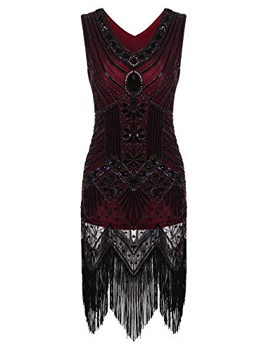 [Zeagoo Women's Tassel Sequined Dress Vintage V Neck Flapper Cocktail Party Dress (X-Large, Wine] (Gatsby Dress Cheap)