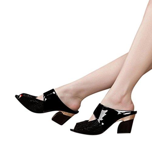 baigoods Ladiesレディースサンダル混合色正方形ハイヒールスリッパ魚口スクエアヒール靴