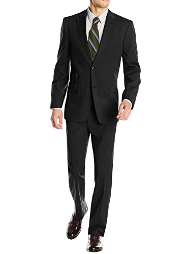 Valentino 2 Piece - Gino Valentino Men's 2 Piece Two Button Ticket Pocket Jacket Faint Herringbone Suit (44 Regular US / 54R EU/W 38