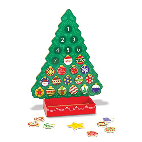 (Melissa & Doug Countdown to Christmas Wooden Advent Calendar, Seasonal & Religious, Magnetic Tree, 25 Magnets, 16.5