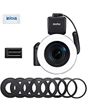 Godox RING72 Macro LED Ring Light - Dual Power Supply Design with 8 Lens Adapter Rings 8W 5600K TLCI 97+ CRI 96+ 10% to 100% Adjustment in 10 Levels Flash for DSLR Camera Video Recording