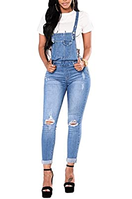 Ybenlow Womens Ripped Denim Overalls High Waisted Skinny Long Jeans Pants Jumpsuits