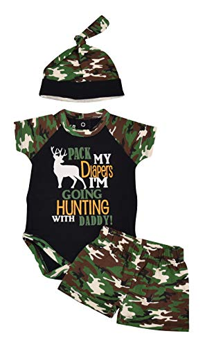 - Unique Baby Boys Going Hunting with Daddy 1st Father's Day One Piece (3 Months) Green