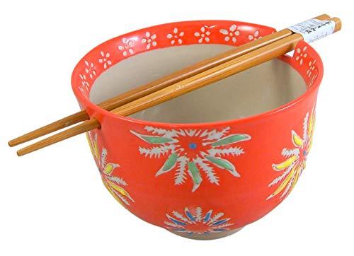 Orange Floral Japanese Udon Noodle Bowl with Wooden Chopsticks and Holder Set, 5 Inch ()