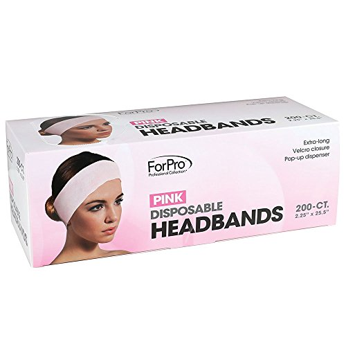 "ForPro Disposable Pink Headbands, Extra-Long, Velcro Closure, Pop-Up Dispenser, 2.25"" W x 25.5"" L, 200-Count"