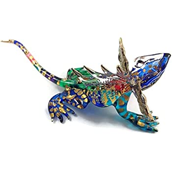 TINY MINIATURE CHAMELEON HAND BLOWN CLEAR GLASS ART CHAMELEON FIGURINE ANIMALS COLLECTION GLASS BLOWN FBA