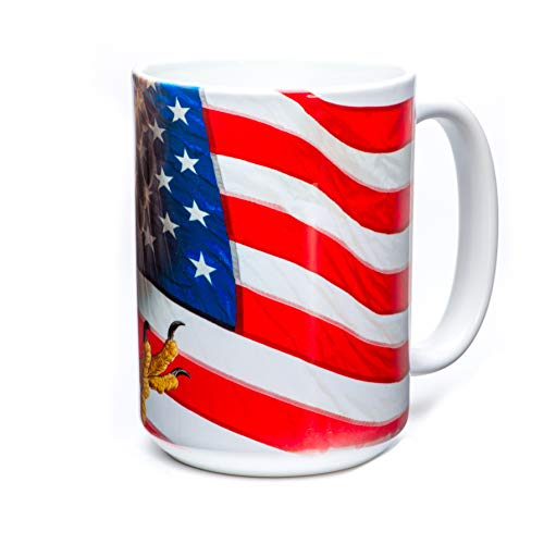The Mountain Eagle Freedom Flag Ceramic Coffee Mug, White, 15 oz