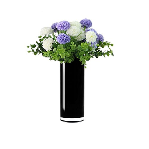 CYS EXCEL Hand Blown-Black Glass Cylinder Vase, Flower Vase, Floating Candle Holder Wedding Decorative Centerpiece, Thickness 1/8th (4