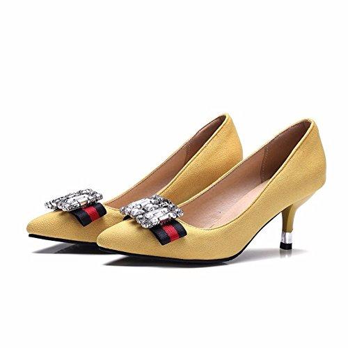 los patios mujer retro diamantes mujer elegancia señaló zapatos talones grandes yellow de de zapatos de Tacones PtxwY8qn
