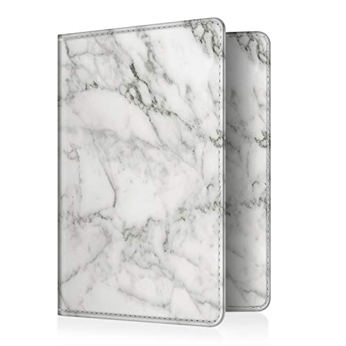 Fintie Passport Holder Travel Wallet - Premium Vegan Leather RFID Blocking Case Cover - Securely Holds Passport, Business Cards, Credit Cards, Boarding Passes, Marble