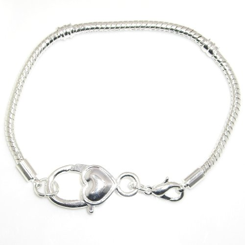"""Jewelry Monster Silver Plated Snake Chain Charm Bracelet w/ Heart Shaped Lobster Clasp Size 8.3""""/21cm"""