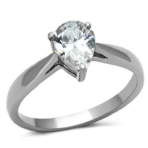 Stainless Steel Traditional Clear Cubic Zirconia Teardrop Pear Engagement Ring, Size 10