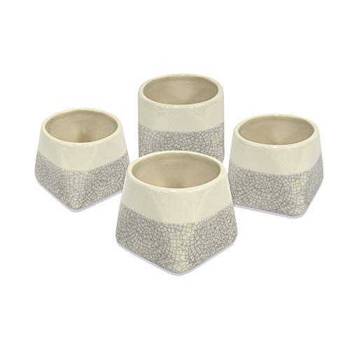 casaWare Crackled Glaze 5-Ounce Premium White Stoneware Tea Cup, Set of 4 (White)