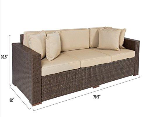 Patio Furniture-Patio Furniture Sets-Premium® Bali Furniture Outdoor Wicker Patio Furniture Sofa 3 Seater Luxury Comfort Brown Wicker Couch (6 Seater Rattan Garden Furniture Sets)
