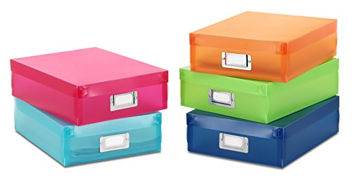 (Whitmor Plastic Document Boxes - Assorted Colors (Set of 5))