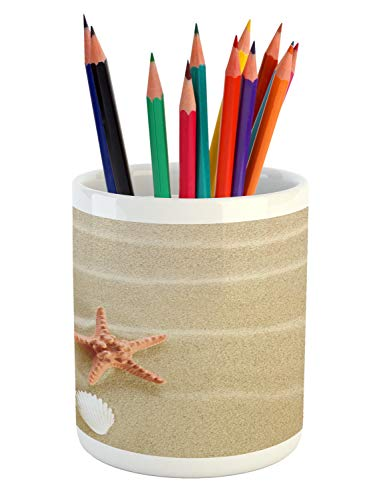 - Ambesonne Shell Pencil Pen Holder, Exotic Seashells on Sand Simplistic Tranquil Travel Summer Photography, Printed Ceramic Pencil Pen Holder for Desk Office Accessory, Pale Sepia Salmon Ivory