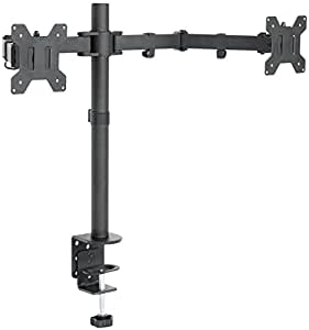 """VIVO Dual LCD Monitor Desk Mount Stand Heavy Duty Fully Adjustable fits 2 /Two Screens upto 27"""" (STAND-V002)"""