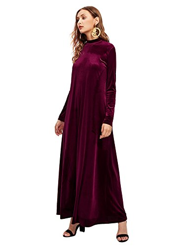 128dd545d MakeMeChic Women's Elegant Long Sleeve Velvet Loose Maxi Dress Burgundy S