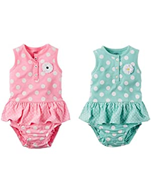 Baby Girl Polka Dot One Piece Bodysuit and Jumpsuit Bundle Gift Set 2 Pack