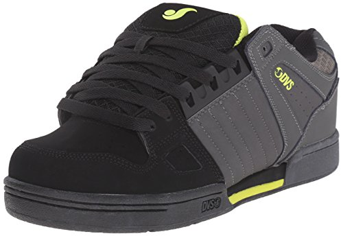 DVS Men's Celsius Action Sports Moto, Grey/Black/Lime Nubuck, 9 M (Action Sports Footwear)