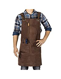 Waxed Canvas Heavy Duty Shop Apron with Pockets Adjustable up to XXL for Men and Women - Texas Canvas Wares