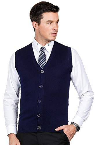PJ PAUL JONES Mens Sweater Vest V Neck Button Front Knitwear Sweater Vest Navy M