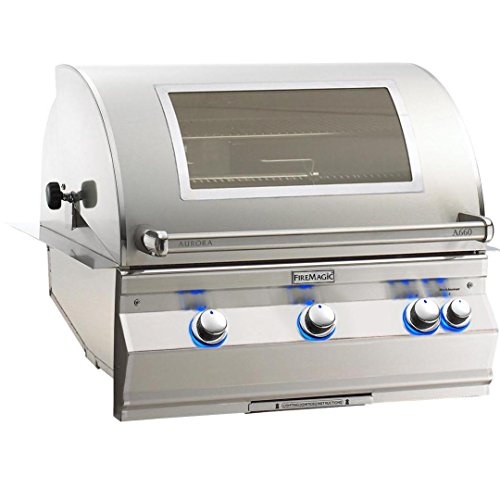 - Fire Magic Aurora A660i 30-inch Built-in Natural Gas Grill With One Infrared Burner, Rotisserie, Analog Thermometer And Magic View Window - A660i-6lan-w