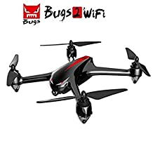 MJX B2W Bugs 2W 2.4G 6-Axis Gyro Brushless Motor Independent ESC 1080P Camera 500M Wifi FPV Drone GPS Height and Distance Display RC Quadcopter 3D VR Goggles