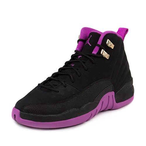 Nike Girls Air Jordan 12 Retro GG Black/Metallic Gold Star-Hyper Violet Suede Size 4Y by NIKE
