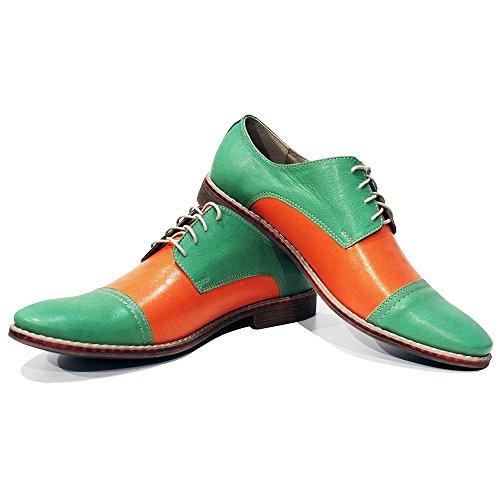Modello Muono - Cuero Italiano Hecho A Mano Hombre Piel Naranja Zapatos Vestir Oxfords - Cuero Cuero suave - Encaje