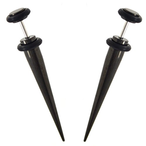 Pair (2) Black Titanium Plated Steel Fake Tapers Cheater Ear Plugs Earrings ()