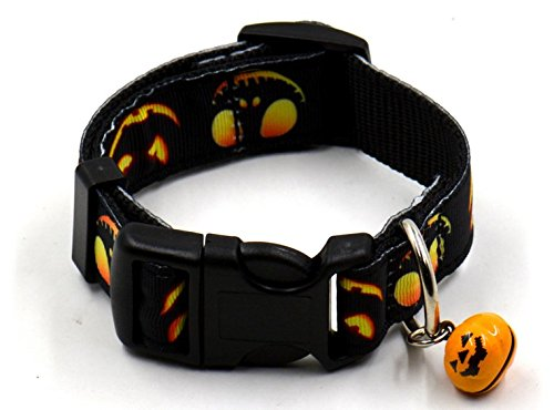 Sporer@ Pething New Cat Pet Collar Dog Collar with Small Bell for Halloween Celebration (black pumpkin lamp, large (Ghost Pokemon This Is Halloween)