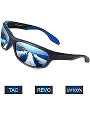 Elegear Gafas de Sol Hombre Polarizadas Gafas Deportivas Súper Ligero y Cómodo Anti UVA UV Marco TR90 Lente Espejo con REVO Gafas Hombre y Mujer Ciclismo MTB Running Coche Moto Montaña