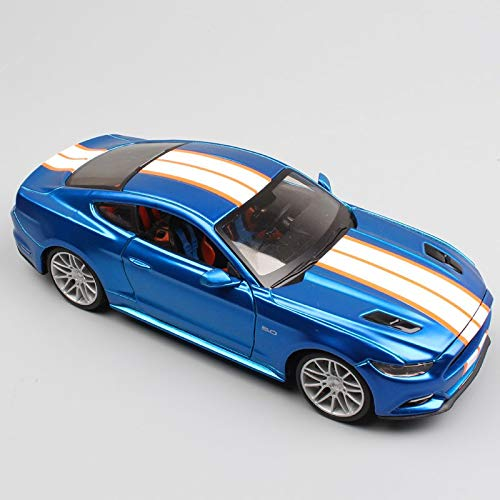 (GreenSun 1:24 Scale Small 2015 Ford Mustang Sports Racing Pony Fastback Coupe diecast Model car Toy for Miniature Collector Blue)