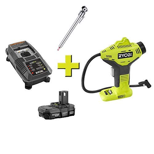 Ryobi P737 18-Volt ONE+ Lithium-Ion Cordless Power Inflator Kit with 1.3 Ah Lithium-Ion Battery,18-Volt Charger and Automotive Pencil Tire Gauge (Bundle)
