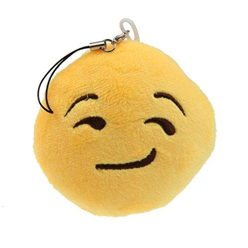 Ammazona Cute Emoji Smiley Emoticon Heart Eyes Key Chain Soft Toy Gift Pendant Bag Accessory