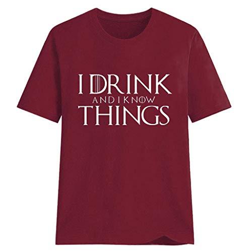 Kawaiine Women Plus Size Letter Print Shirt Short Sleeve T Shirt Blouse Tops Wine