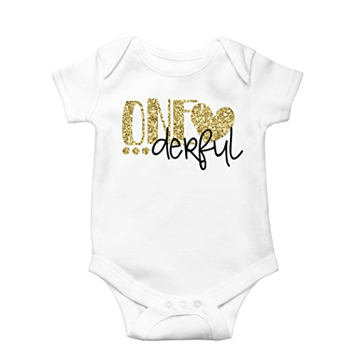 Birthday Onesie Glitter Gold Baby onesie for 1st Birthday Outfit,18-24 months short sleeve,Gold ()
