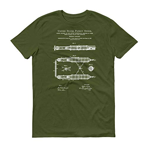 1880 Marine Torpedo Patent T-Shirt - 100% Cotton - Large - City Green