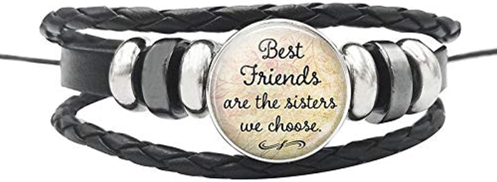 Best Friend Leather Rope Bracelet Inspirational Quote Words Glass Dome Buttons Bangle For Women Men Christmas Gifts Amazon Co Uk Jewellery