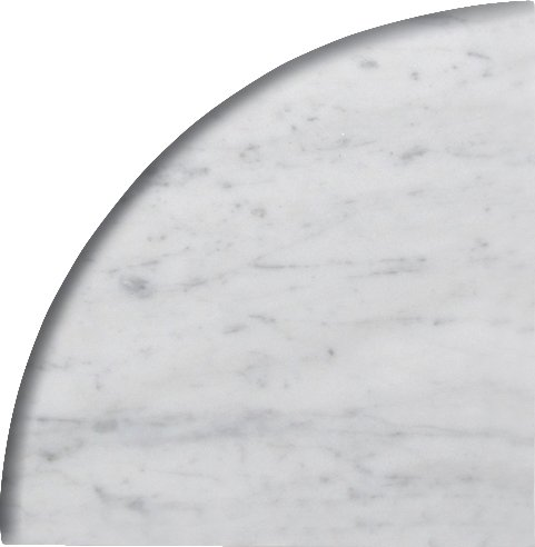 9'' X 9'' X 3/4'' Round Edge Bianco Carrara Premium Corner Shelf Piece Both Sides Polished (5) by Alternative Tiles