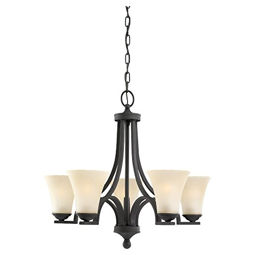 Sea Gull Lighting 31376-839 Somerton Five-Light Chandelier with Cafe Tint Glass Shades, Blacksmith Finish
