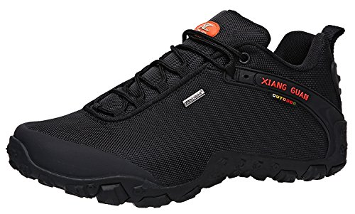 XIANG GUAN Men's Outdoor Low-Top Oxford Water Resistant Trekking Hiking Shoes Black 12